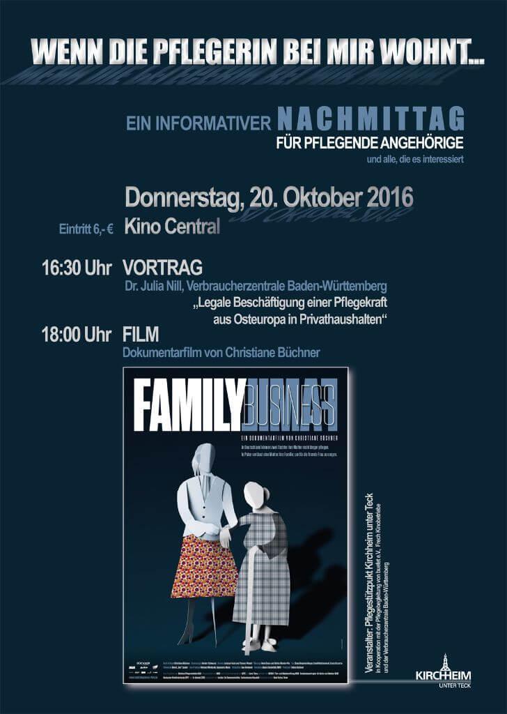 """Plakat zur Veranstaltung """"Wenn die Pflegerin bei mir wohnt"""""""